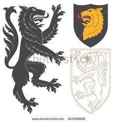 Rampant Wolf Illustration For Heraldry Or Tattoo Design Isolated On White Background. Heraldic Symbols And Elements Wolf Illustration, English Rose Tattoos, Wolf Knight, Circle Tattoos, Book Of Kells, Arte Horror, Celtic Art, Crests, Coat Of Arms