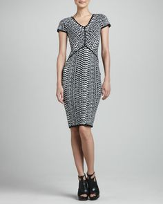 Optical-Print Jacquard Dress, Black/White by Narciso Rodriguez at Bergdorf Goodman.