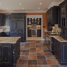 slate floorshow would this look with green granite and light