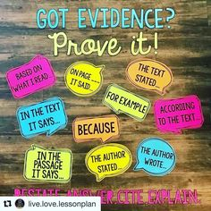 I LOVE this bulletin board idea from for citing evidence when speaking about a text! My students are good at finding… 6th Grade Reading, 6th Grade Ela, 4th Grade Writing, Teaching Writing, Fourth Grade, Third Grade, Sixth Grade, Guided Reading, Teaching English