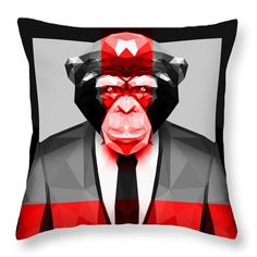 Geometric Ape Throw Pillow Animal Print Pillow by Filip Aleksandrov