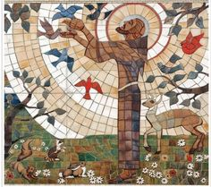 This depiction of Francis is found the Motherhouse Grounds of the Sylvania Franciscans and is a mosaic done by our very own Sister Jane Mary Sorosiak Catholic Art, Catholic Saints, Patron Saints, Religious Art, Feast Of St Francis, Francis Of Assisi, St Francisco, St Clare's, Holy Mary