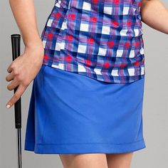 "Unique, Pretty Colors are the highlight of the EP New York ladies golf collection just like this Sail Blue CLEARANCE EP New York Ladies 17.5"" Pull On Golf Skorts!"