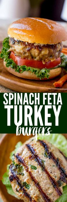 Spinach Feta Turkey Burgers with fresh spinach, salty crumbled feta cheese and a super tender turkey patty topped with lemony greek yogurt.