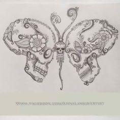 Art skull butterfly tattoo Hand drawing on paper Stock Photo Et Tattoo, Tattoo Hals, Tattoo Drawings, Body Art Tattoos, Small Tattoos, Sleeve Tattoos, Tatoos, Drawings Of Skulls, Foot Tattoos