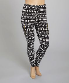 Love this Black & White Tribal Leggings - Plus by Wearhouse USA on #zulily! #zulilyfinds