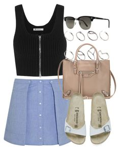 """Style #8845"" by vany-alvarado ❤ liked on Polyvore featuring T By Alexander Wang, ASOS, Balenciaga, Birkenstock and Ray-Ban"