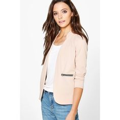 Boohoo Nicole Zip Pocket Collarless Blazer ($30) ❤ liked on Polyvore featuring outerwear, jackets, blazers, stone, collarless jacket, wrap jacket, bomber jacket, blazer jacket and duster coat
