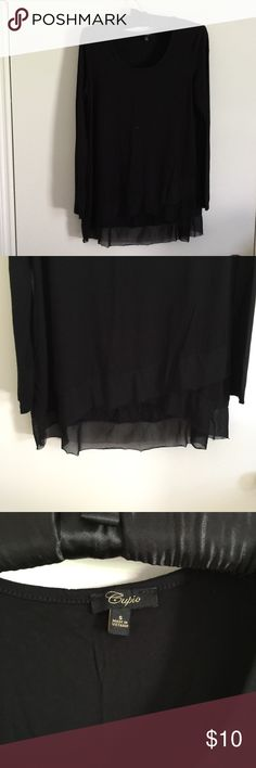 NWOT Cute black tee Never worn before! Cute black tee with special design on the bottom! Tops Tees - Long Sleeve