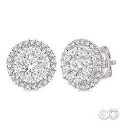 4 Ctw Lovebright Round Cut Diamond Earrings in 14K White Gold