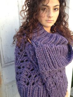Warmer shall of warmess? Chunky knit oversized amethyst  wrap shawl. $90.00, via Etsy.
