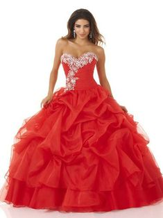Ball Gown Sweetheart Organza Quinceanera Dresses