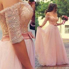 Buy Gorgeous Prom Dress -Pink A-Line Off-the-Shoulder Half Sleeves Dress with Appliques Bowknot Prom Dresses 2016 under $144.99 only in Dressywomen.