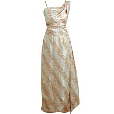 1940's Metallic-Gold & Ivory Silk One-Shoulder Goddess Gown