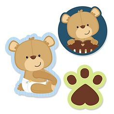 Baby Boy Teddy Bear - Baby Shower Theme | BigDotOfHappiness.com