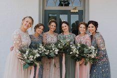 A Stephanie Allin Dress + Bridesmaids in Needle & Thread for a Botanical, Boho Barn Wedding in Norfolk Wedding Dresses, Needle And Thread Bridal, Botanical Wedding, Maid Of Honor, Norfolk, Boho Dress, Bridal Gowns, Bridesmaids, Wedding