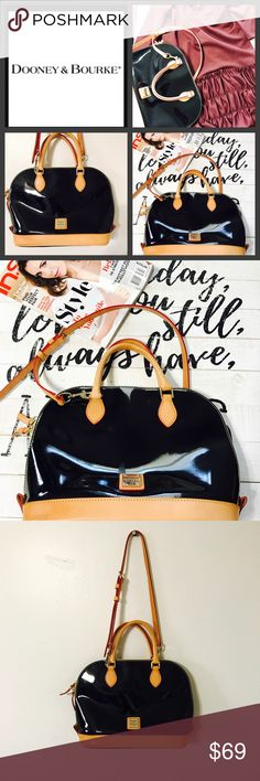 """AUTHENTIC DOONEY and BOURKE Zip Zip satchel Welcome this zip zip satchel collection to your closet. Featuring a modern dome shape, BLACK PATENT satchel makes a statement everywhere it goes. Accented with gilded hardware and crisp contrast trim, the optional shoulder strap provides you with styling versatility.H 9.5"""" x W 5.25"""" x L 12"""" Two inside pockets. One inside zip pocket. Cell phone pocket. Inside key hook. Handle drop length 4"""". Strap drop length 15.5"""". Lined. Zipper closure. Excellent…"""