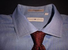 Joseph Abboud Dress Shirt Blue Herringbone 100% Cotton Hong Kong Sz 16- 34/35