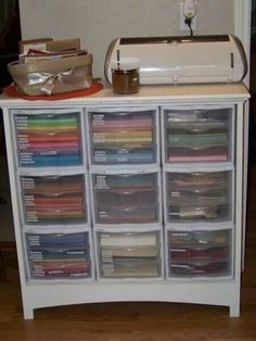 This looks so much nicer than just the plastic drawers! Scrapbook paper storage or craft supplies- organizers stacked in dresser without drawers! Scrapbook Paper Storage, Scrapbook Room Organization, Craft Organization, Space Crafts, Home Crafts, Craft Space, Craft Room Storage, Storage Ideas, Craft Rooms