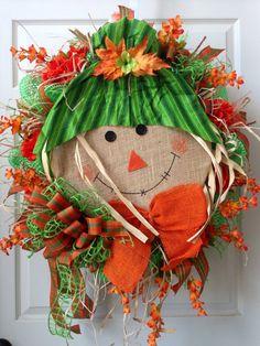 Fall Wreath Mesh Wreath Autumn Wreath Scarecrow by WilliamsFloral