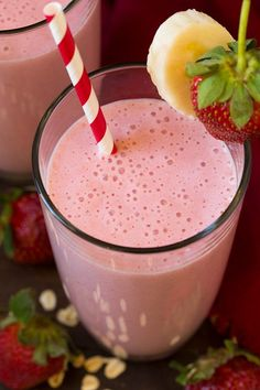Strawberry Banana Oat Smoothie | Cooking Classy