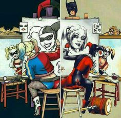 Every time see this pic i am like So classic is looking at city harley but drawing margot Margot harley is watching at asylum harley but is drawing classic harley What is going on???