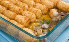 Tater Tot Casserole  When we made it, I used golden mushroom soup instead of cream of mushroom and it came out much thicker and better IMO :) Hope you enjoy it too!