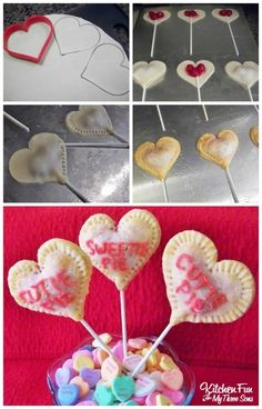 We came up with these funCherry Heart Pie Pops for Valentine's Day. It's very simple to do! You will need Pillsbury pie crust, cherry pie filling, lollipop sticks, 1 egg white, pink sugar, and, red or pink decorating frosting. We first rolled out our pie crust and cut out hearts with a heart cookie cutter… …