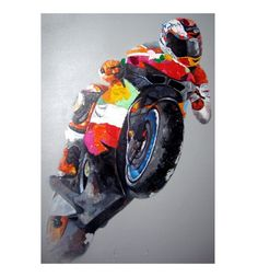 Motorcycle Racer Oil Painting  (and other cheap motorcycle paintings, click to find out more)