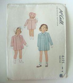 Cute Coats: Vintage 40s Girls Size 2 Coat Jacket Patterns McCall 6195 Uncut Sewing Pattern. $12.00, via Etsy.