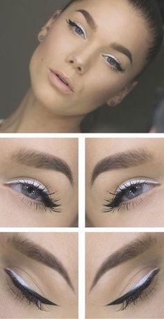 10 Hot White Eyeliner Ideas #9 White to Black Eyeliner #eyes; #eyemakeup; #eyeliner; #makeuptips; #makeup