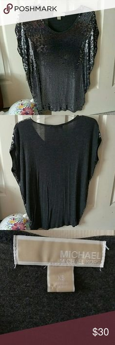 Michael Kors SPARKLE Top Shirt is sequenced on the front with silver and solid charcoal grey on the back MICHAEL Michael Kors Tops