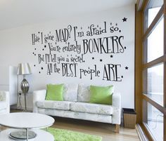 LARGE Alice in Wonderland Mad Hatter Quote Wall by VandCDesigns, £22.95