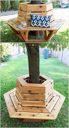 Having a round bench around tree is best option to spend some time alone in a comfortable atmosphere. It is quite simple and easy to do in terms of designing as it just require the use of the wood pallets around the tree corners. You can even add it with some beautiful views by mixing it with multi color use of paint.