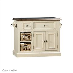 Hillsdale Furniture Tuscan Retreat Small Granite Top Kitchen Island with Baskets