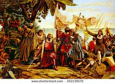 Christopher Columbus landing on the island of Guanahane (San Salvador) on October 12, 1492, chromolithograph from painting by Dioscoro Puebla, 1892