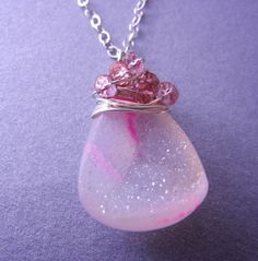 Pink Drusy Necklace by megangillis on Etsy, $52.00