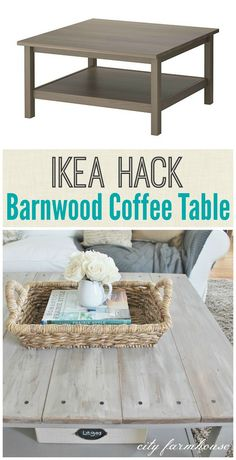 Ikea Hack-Barnwood Coffee Table I want a sofa table and this could be how I paint the top.