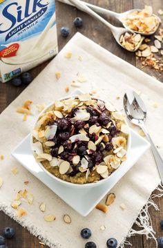 Roasted Blueberry Quinoa Breakfast Bowls #ILoveSilkSoy