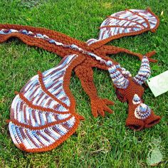 Dragon Scarf  crochet handmade brown blue by MyntKat on Etsy, $125.00