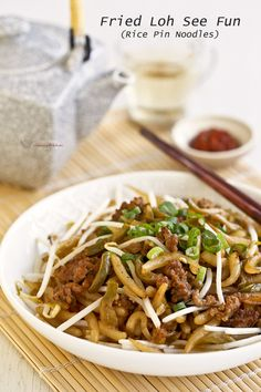 Quick and easy Fried Loh See Fun (Rice Pin Noodles) with minced pork and salted spicy radish. It is perfect for lunch and can be prepared in under 30 minutes. | Food • Culture • Stories at MalaysianChineseKitchen.com