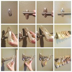 Mount a DIY shoe rack to organize your high heels using a curtain rod and Command™ Large Decorative Hooks. Create one row, or several rows depending on how many pairs of heels you have. It's a great use of wall space and eliminates taking up floor space in a bedroom or closet.