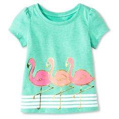 Baby Girls' Flamingo Short Sleeve Graphic Tee Green - Circo™
