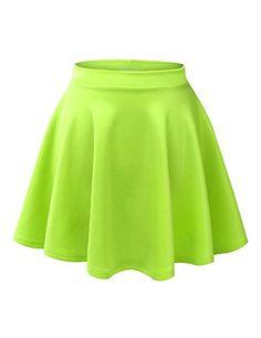 MBJ WB211 Womens Basic Versatile Stretchy Flared Skater Skirt S NEON_LIME ** Click image for more details.
