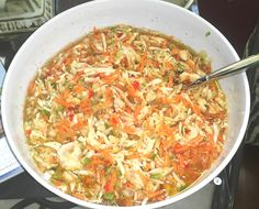 The Best Coleslaw Ever 8 cups shredded cabbage 4 cups grated carrots 1 finely chopped onion 1 finely chopped green pepper 1 Tablespoon chopped pimento Sauce: 1 cup vinegar with  1 1/2 cup sugar dissolved 1 cup canola oil 1/2 teaspoon celery seed 1 Tablespoon salt 1/2 Tablespoon pepper 1 package gelatin dissolved in 1/4 cup water Mix all and allow to marinate 1 day