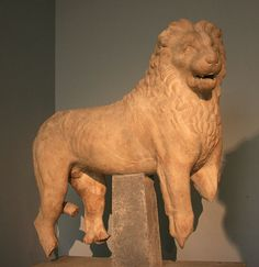 Lion, probably from the roof of the podium of the Mausoleum at Halicarnassus, bears an inscription (Greek letter Π) which has been interpreted as the signature of Praxiteles, Mausoleum at Halicarnassus, British Museum Free Standing Sculpture, Lion Sculpture, British Museum, Mausoleum At Halicarnassus, Stone Lion, Fu Dog, Seven Wonders, Ancient Greek, London
