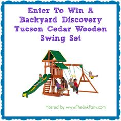 Backyard Discovery Tucson Cedar Wooden Swing Set Giveaway 3/3 - Newly Crunchy Mama Of 3