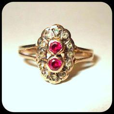 Victorian 14K Rose Gold Ring, Rose Cut Diamonds & Rubies