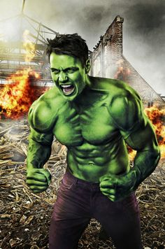 I wasn't sure if I'd manage to turn Christian into the Hulk, but it turned out pretty good.
