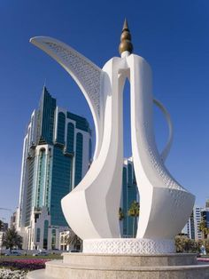 size: Photographic Print: Twin Towers and Teapot Sculpture at Eastern End of the Corniche, Ad Dawhah, Doha, Qatar by Gavin Hellier : Artists Futuristic Architecture, Beautiful Architecture, Landscape Architecture, Architecture Design, Unique Buildings, Amazing Buildings, Doha, Qatar Travel, Building Design
